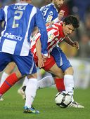 BARCELONA-APRIL 11: Kun Aguero of Atletico Madrid in action during a Spanish League match between Es