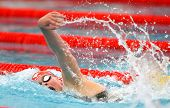 BARCELONA, SPAIN - JUNE 9: Danish olympic medalist swimmer Lotte Friis swims crawl style during the