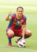 BARCELONA, SPAIN - JULY 19: Futbol Club Barcelona's new Brazilian defender Adriano Correia during hi