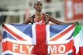 BARCELONA, SPAIN - JULY 27: Mo Farah of Great Britain celebrates gold on Men 10000m final during the