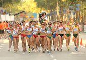 BARCELONA, España - 28 de julio: Competidores de mujeres 20km caminata Final del XX European Athletics Cham