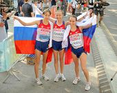 BARCELONA, SPAIN - JULY 28: Kirdyapkina, Kaniskina and Sokolova of Russia winners on Women 20km Walk European Athletics Championships at the Parc de la Ciutadella on July 28, 2010 in Barcelona, Spain