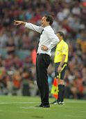 BARCELONA - AUGUST 25: Allegri, manager of AC Milan in action during Trophy Joan Gamper match between FC Barcelona and AC Milan at Nou Camp Stadium on August 25, 2010 in Barcelona, Spain.