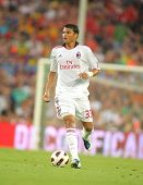 BARCELONA - AUGUST 25: Thiago Silva of AC Milan in action during Trophy Joan Gamper match between FC Barcelona and AC Milan at Nou Camp Stadium on August 25, 2010 in Barcelona, Spain.