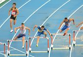 BARCELONA, SPAIN - JULY 29: Competitors of 400m Hurdles Men during the 20th European Athletics Champ