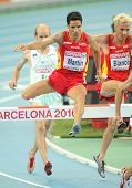BARCELONA, SPAIN - AUGUST 01: Eliseo Martin of Spain competes on 3000m steeplechase Final of the 20th European Athletics Championships at the Olympic Stadium on August 1, 2010 in Barcelona, Spain