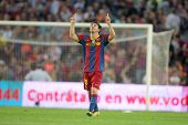 BARCELONA - OCT 3: Leo Messi of FC Barcelona celebrates goal during spanish league match between FC