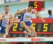 BARCELONA, SPAIN - AUGUST 01: Mahiedine Mekhissi-Benabbad of France  competes on 3000m steeplechase Final of the 20th European Athletics at the Olympic Stadium on August 1, 2010 in Barcelona, Spain