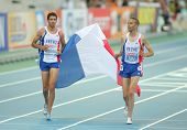 BARCELONA, SPAIN - AUGUST 01: Mekhissi-Benabbad(L) and Tahri(R) of France celebrate medals on 3000m