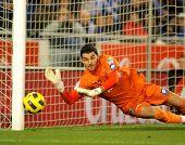 BARCELONA - 5 de dic: Juan Pablo Colinas de Sporting Gijon durante un partido de la Liga española entre Espany
