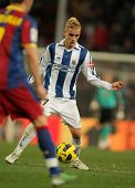 BARCELONA - DEC 12: Griezmann of Real Sociedad in action during a Spanish League match between FC Ba