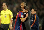 BARCELONA - JAN 2: Josep Guardiola & Bojan of Barcelona during a Spanish League match between FC Bar