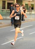 BARCELONA - FEB 6: The European champion Marathon in Barcelona 2010, Viktor Rothlin, running during