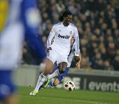 BARCELONA - FEB 13: Emmanuel Adebayor of Real Madrid during a spanish league match between Espanyol