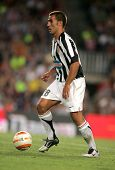 BARCELONA - AUG 24: Fabio Cannavaro of Juventus in action during the friendly match between Barcelona and Juventus at Nou Camp Stadium August 24, 2005 in Barcelona, Spain