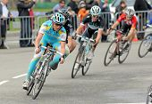 BARCELONA - MARCH 27: Pro Team Astana's cyclist Russian Evgeni Petrov rides with the pack during the