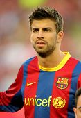 BARCELONA - APRIL 9: Gerard Pique of Barcelona before the match between FC Barcelona and UD Almeria