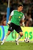 BARCELONA - APRIL 19: Diego Alves of Almeria in action during the match between FC Barcelona and UD