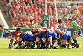 BARCELONA - APRIL 9: USAP Perpignan players scrumming during the Heineken European Cup quarter-final