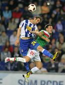 BARCELONA - MAY 2: Ivan Alonso(L) of Espanyol fights with Castillo(R) of Bilbao during a Spanish League match between Espanyol and Bilbao at the Estadi Cornella on May 2, 2011 in Barcelona, Spain
