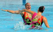 BARCELONA - June 18: Greeks synchro swimmers Despoina Solomou and Neftaria Ramnioti in a Duet exerci