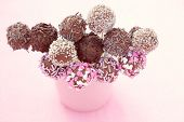 stock photo of cake-ball  - delicious chocolate cake pops  - JPG