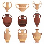 Clay Jug. Ancient Amphora With Pattern Greek Cup And Other Vessel Vector Cartoon Pictures Isolated.  poster