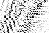 Black And White Halftone Vector Texture. Diagonal Dotted Gradient. Contrast Dotwork Surface For Vint poster