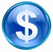 Button Dollar Icon Blue