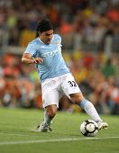 BARCELONA, SPAIN - AUG. 19: Manchester City international Argentinian striker Carlos Tevez during th
