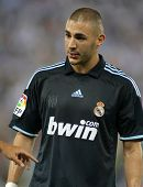 BARCELONA - SEPT. 12: Karim Benzema of Real Madrid in action during a Spanish League match against RCD Espanyol at the Estadi Cornella-El Prat on September 12, 2009 in Barcelona, Spain