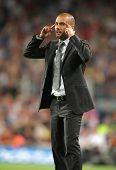 BARCELONA - OCTOBER 3: FC Barcelona coach Josep Guardiola reacts during Spanish league match between