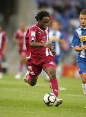 BARCELONA - OCTOBER 18: Daniel Ngom Kome, a Cameroonian player for Tenerife, in action during a Spanish league match against Espanyol at the Estadi Cornella on October 18, 2009 in Barcelona, Spain.