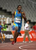 BARCELONA JULY 25: Bahamian athlete Andrae Williams runs to win his men's 400 meters hurdles at the