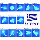 Island Map On Greece Vector Illustration