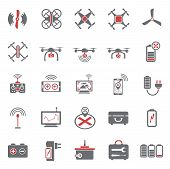 Drone Red Grey Icons Set On White Background For Graphic And Web Design, Modern Simple Vector Sign.  poster
