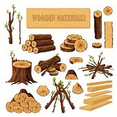 Set Of Firewood Materials For Lumber Industry Isolated On White Background. Collection Of Wood Logs  poster