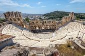 Odeon Of Herodes Atticus At The Acropolis, Athens, Greece. It Is One Of The Main Landmarks In Athens poster