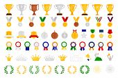 Cartoon Award Set. Sport And Game Achievement Vector Awards, Medal And Bowl, Achieve Trophy Coat Of  poster