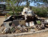Old Tank War Ruin From World War Two On A Japaneese Island poster