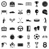 Sport Achievement Icons Set. Simple Style Of 36 Sport Achievement Icons For Web Isolated On White Ba poster