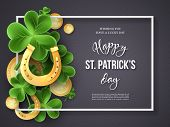 St. Patricks Day Card. Clover Leaves, Golden Horseshoes And Coins On Dark Background For Greeting Ho poster