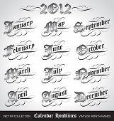 vintage calendar month titles (vector)