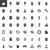 Garbage And Recycling Vector Icons Set, Modern Solid Symbol Collection, Filled Style Pictogram Pack. poster