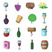 Wine Yard Icons Set. Cartoon Illustration Of 16 Wine Yard Icons For Web poster