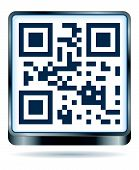 stock photo of qr-code  - qr code icon in blue colors and steel - JPG
