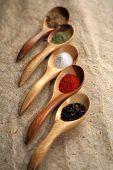 Visualización de especias secas en cucharas.