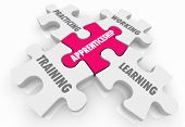 Apprenticeship On the Job Training Learning Puzzle Pieces Words 3d Illustration poster