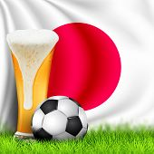 Realistic 3d Soccer Ball And Glass Of Beer On Grass With National Waving Flag Of Japan. Design Of A  poster