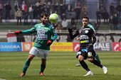 KAPOSVAR, HUNGARY - NOVEMBER 26: Pedro Sass (L) in action at a Hungarian National Championship socce